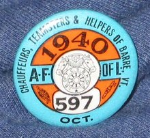 VINTAGE AFL CIO UNION PINBACK PIN 1940