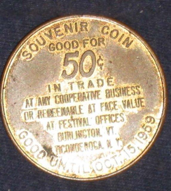 VINTAGE 1959 SOUVENIR FESTIVAL COIN / NEW YORK VERMONT