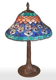 PEACOCK GLASS TABLE LAMP / NEW