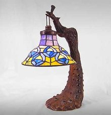 PEACOCK GLASS LAMP / NEW