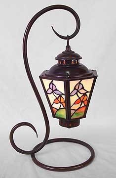 GLASS PANELED PARLOR LAMP / NEW