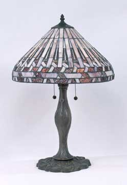 GLASS LAMP METAL BASE W MARBLE / NEW LIGHTING
