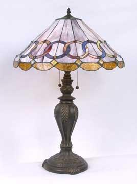 GLASS LAMP METAL BASE W MARBLE / NEW LIGHTING