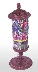 GLASS FLORAL TABLE LAMP / NEW