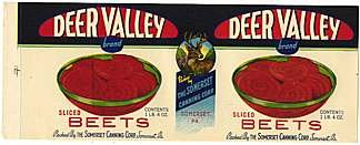 5 VINTAGE DEER VALLEY BEET LABELS