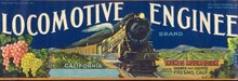 VINTAGE LOCOMOTIVE ENGINEER GRAPES TRAIN LABEL