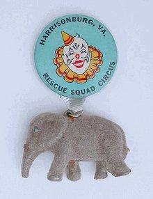 HARRISBURG VA FLOCKED ELEPHANT CIRCUS SOUVENIR