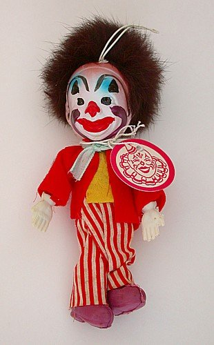 Clown Cloth Celluloid Toy Doll - Japan 1950s