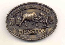 Hesston Brass Cowboy Belt Bucklet