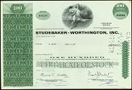 Studebaker-Worthington Stock Certificate