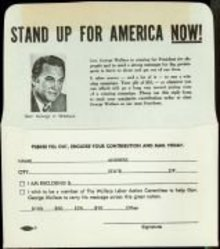 VINTAGE GEORGE WALLACE STAND UP FOR AMERICA POLITICAL CONTRIBUTION ENVELOPE