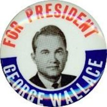 VINTAGE GEORGE WALLACE FOR PRESIDENT PINBACK BUTTON