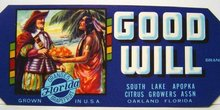 Good Will Orange Citrus Crate labels