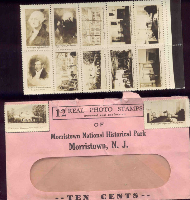 12 VINTAGE PHOTO STAMPS / MORRISTOWN NEW JERSEY