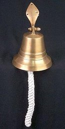 BRASS SHIP BELL W HOOK  ROPE / NEW