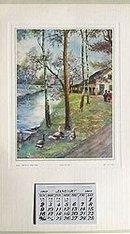 1927 Vintage Calendar - Along the Canal