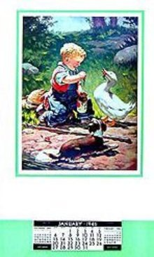 1946 Vintage Calendar - Boy Puppy Duck