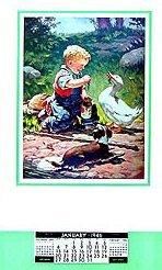 1946 Vintage Calendar - Boy Puppy Duck