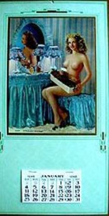 VINTAGE 1928 TOPLESS NUDE GIRL CALENDAR