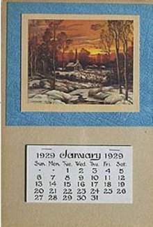 VINTAGE 1929 CHURCH IN WOODS WINTER SCENE CALENDAR