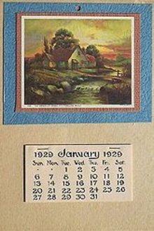 VINTAGE 1929 SUMMER SCENE CALENDAR