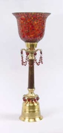 Red Glass Candleholder Mosaic