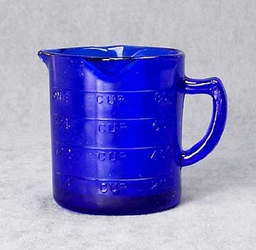 REPRODUCTION NEW BLUE DEPRESSION GLASS MEASURE CUP