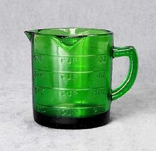 REPRODUCTION NEW GREEN DEPRESSION GLASS MEASURE CUP