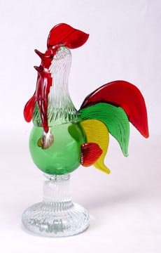 Glass Rooster Sculpture