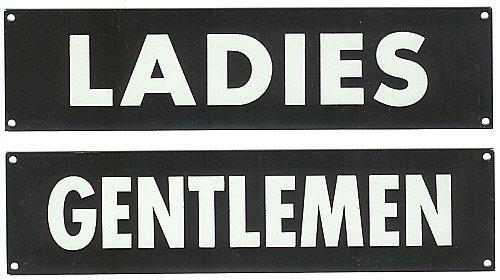 Aluminum Restroom Signs - Ladies Gentlemen 1950s
