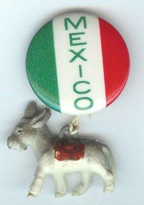 VINTAGE MEXICO DONKEY DANGLER PINBACK PIN