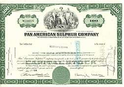 VINTAGE PAN AMERICAN SULPHER STOCK CERTIFICATE 1960S
