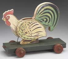 CHICKEN TOY ON WHEELS / REPRODUCTION NEW