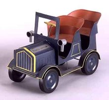 TIN LIZZY CAR / AUTOMOBILE / BLUE HAND PAINTED