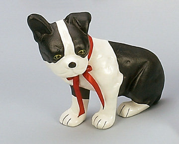 CAST IRON PAINTED BOSTON TERRIER DOG DOOR STOP