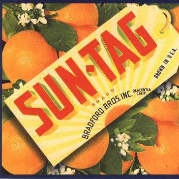 VINTAGE SUN-TAG ORANGE CITRUS CRATE LABEL