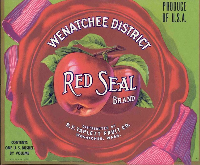 Red Seals Apple Crate Label