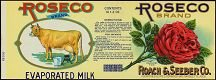 Roseco Evaporated Milk Label - Dairy Cow