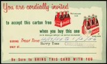 VINTAGE 1940s COCA COLA SODA Coupon / invitation