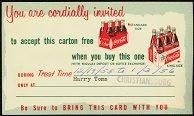 VINTAGE 1940s COCA COLA SODA Coupon / invitation