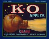 VINTAGE 1940s K-O APPLE ORCHARD CRATE LABEL / BOXING / GLOVE