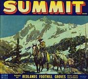Summit Redlands Orange Crate Citrus Label / rare / horse