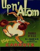Vintage UP N' ATOM CARROT Label / rabbit / bunny