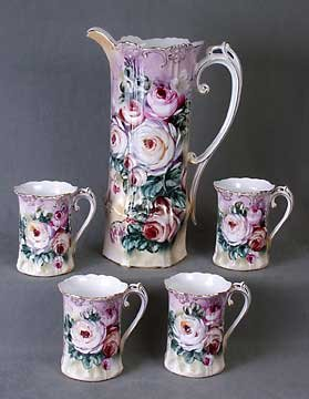 FLORAL PORCELAIN PITCHER W FOUR CUPS / NEW
