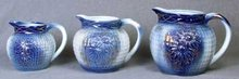 3 PORCELAIN WATER PITCHERS NEW / BLUE GOLD