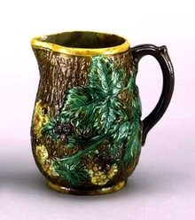 PORCELAIN BROWN LEAF FALL WATER DRINK PITCHER