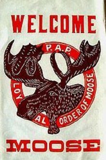 VINTAGE FRATERNAL GROUP  MOOSE BANNER