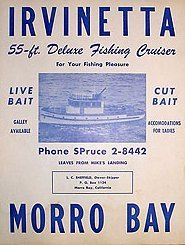 Morro Bay Fishing Sign - Vintage Irvinetta California