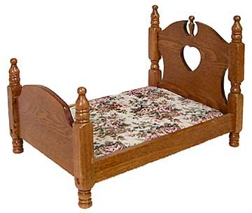 DOLL HOUSE OAK WOOD DOLL BED / NEW