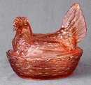Pink Glass Hen Dish